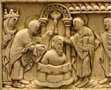Saint Rémi baptisant Clovis en présence de Sainte Clotilde Ivoire - 9ème siècle - Musée de Picardie - Amiens