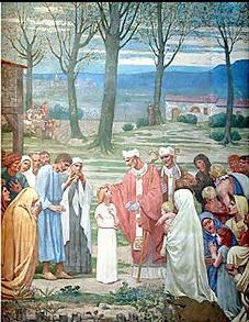 L'enfance de Sainte Geneviève – Peinture murale (toile marouflée) de Pierre Puvis de Chavannes, 1877, Paris, Panthéon.