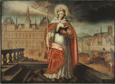 Sainte Geneviève qui protège Paris des Huns devant l'Hôtel de Ville. Huile sur toile anonyme datant du début du XVIIe siècle. © Collections du Musée Carnavalet.