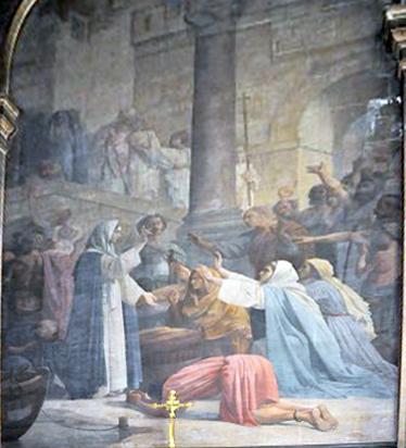 Sainte Geneviève distribuant du pain au peuple de Paris - Louis-Charles Timbal – Église Saint-Sulpice, Paris
